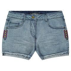 Junior - Short en jeans avec empiècements brodés