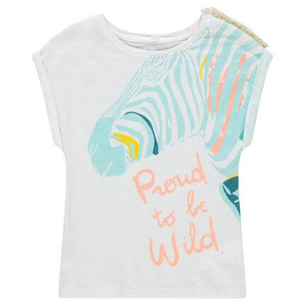 Tee-shirt manches courtes avec zèbre printé et franges