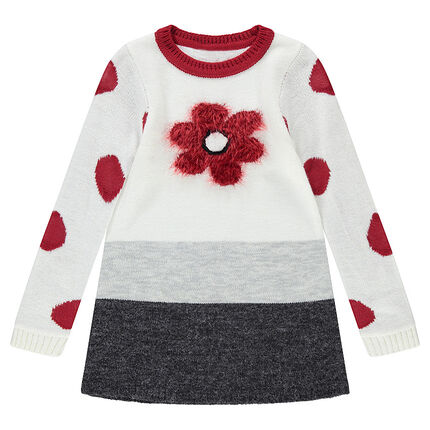 Robe en tricot manches longues avec fleur en tricot poil et pois jacquard