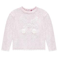 Pull en tricot twisté avec papillon brodé et pompons