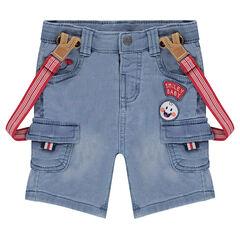 Bemruda en molleton effet jeans used avec bretelles élastiquées