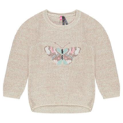 Pull en tricot effet brillant avec papillon brodé