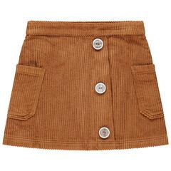 Jupe en velours côtelé à boutons fantaisie et poches