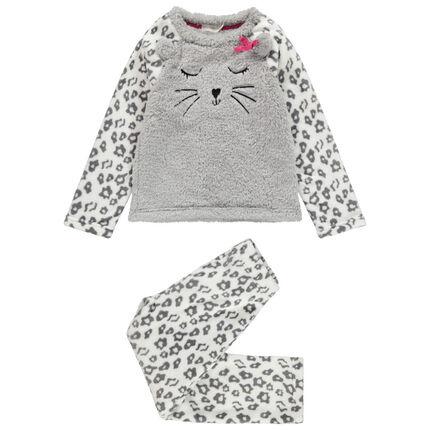 Pyjama en polaire avec oreilles en relief et détails brodés