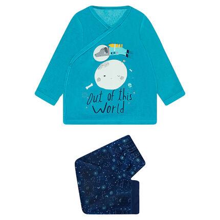 Pyjama en velours avec printe fantaisie et bas imprimé galaxie
