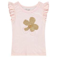 Tee-shirt manches courtes en jersey avec fleur en sequins magiques