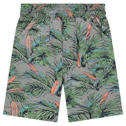 Bermuda réversible avec 1 côté en twill imprimé et 1 côté en jersey uni anis