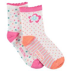 Lot de 2 paires de chaussettes avec fleurs et motifs jacquard