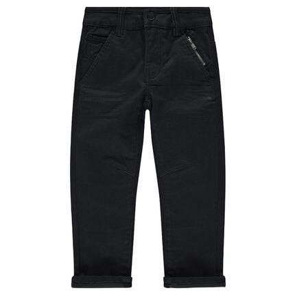 Pantalon droit uni avec poches zippées