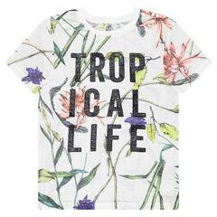 Junior - Tee-shirt manches courtes avec texte printé et imprimé végétal
