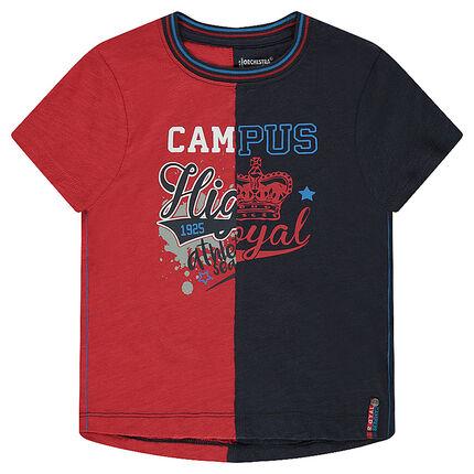 Tee-shirt manches courtes bicolore avec print fantaisie