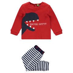Pyjama avec tee-shirt print dinosaure et pantalon rayé