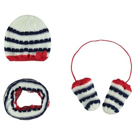 Ensemble bonnet, snood et moufles en tricot rayé