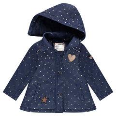 Parka en polyester avec étoiles all-over et capuche amovible