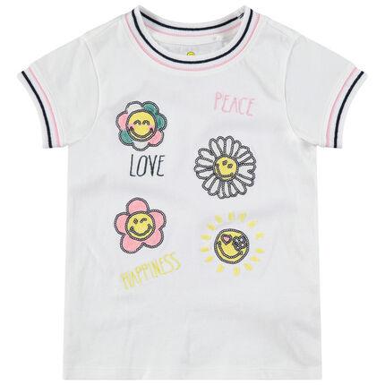 Tee-shirt manches courtes avec fleurs en sequins Smiley