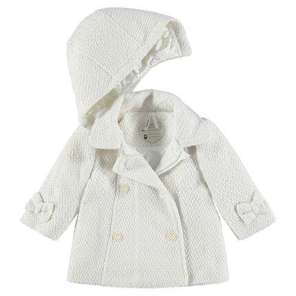 Manteau en drap de laine fantaisie avec capuche amovible et doublure satin