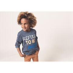 T-shirt manches longues en jersey chiné avec message printé et brodé