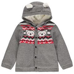 Veste en tricot doublée sherpa à motifs jacquard , Orchestra