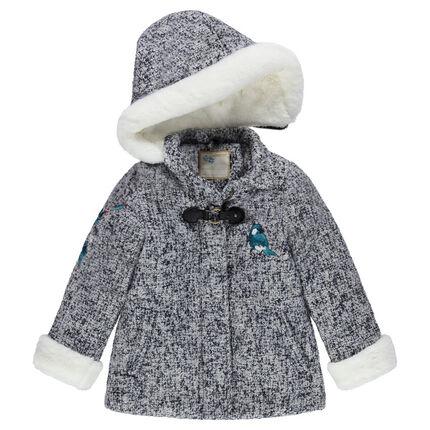 Manteau effet drap de laine tweedé à capuche avec patch oiseau