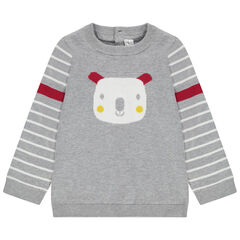 Pull en tricot motif koala en jacquard à ouverture au dos