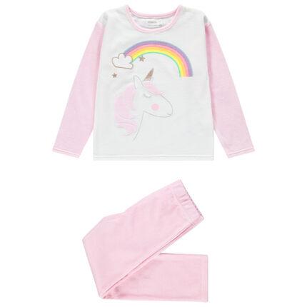 Pyjama en velours avec licorne brodée et arc-en-ciel