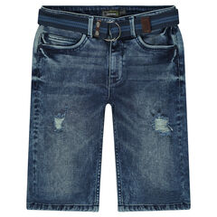 Junior - Bermuda en jeans effet used avec ceinture amovible