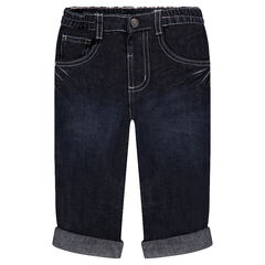 Jeans droit effet used et crinkle