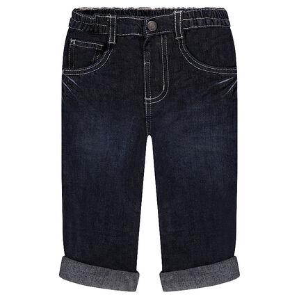 Jeans droit effet used et crinkle