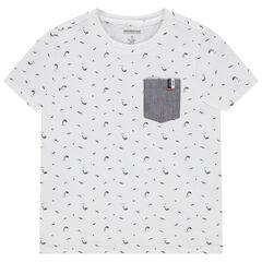 T-shirt manches courtes à dauphins et poche en chambray , Orchestra