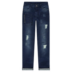 Junior - Jeans effet used avec poche zippée