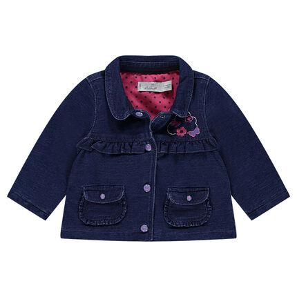 Veste en molleton effet jeans avec doublure à pois et motifs brodés