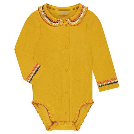 Body manches longues en jersey avec col Claudine et frise style ethnique
