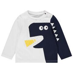 T-shirt manches longues bicolore avec dinosaure brodé