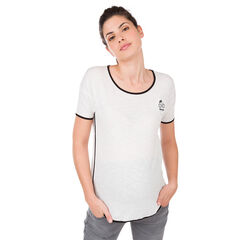 Tee-shirt manches courtes avec print et biais contrasté