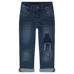 Jeans effet crinkle avec patchs effet used