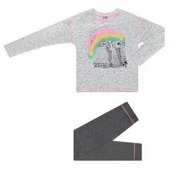 Junior - Pyjama en jersey avec photoprint arc-en-ciel et legging uni