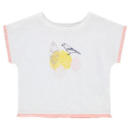 Tee-shirt manches courtes avec finitions fantaisie et oiseau printé