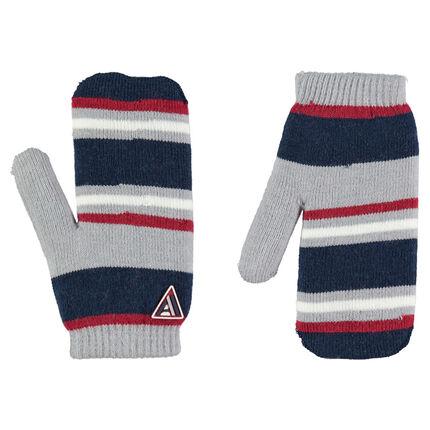 Moufles en tricot rayé avec badge en gomme et intérieur sherpa