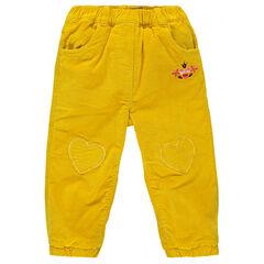 Pantalon en velours doublé polaire avec coeurs patchés