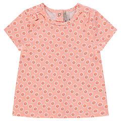 Tee-shirt manches courtes imprimé fleurs fantaisie