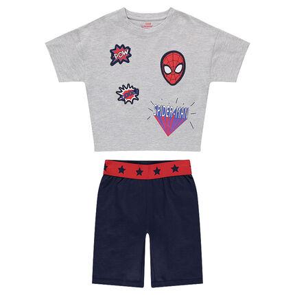 Pyjama court en jersey avec badges Marvel Spiderman
