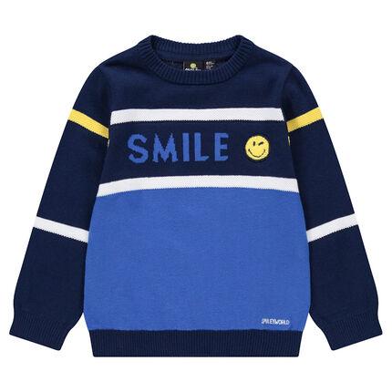 Pull en tricot avec inscription en jacquard et badge Smiley