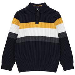 Pull en tricot à larges bandes contrastées et col zippé