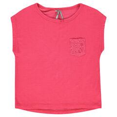 Tee-shirt manches courtes à côtes forme boîte et poche dentelle