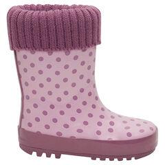 1571b79e52639 Bottes de pluie en caoutchouc avec col en tricot rose et intérieur fourré  ...
