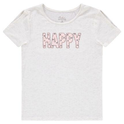 Junior - Tee-shirt manches courtes en jersey slub avec inscription en sequins