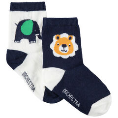 Lot de 2 paires de chaussettes assorties avec animaux de la jungle