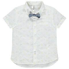 Chemise manches courtes à motif imprimé all-over et noeud papillon amovible