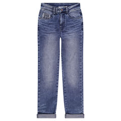 Junior - Jeans effet used et crinkle avec poches fantaisie