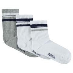 Lot de 3 paires de chaussettes assorties avec bandes contrastées